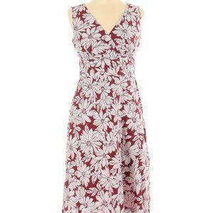 Ann Taylor Red Floral Sleeveless V-Neck Dress